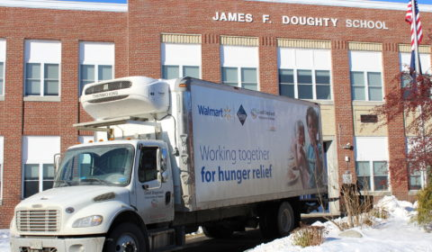 picture of truck picking up donations from school
