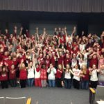 picture of students wearing red and white